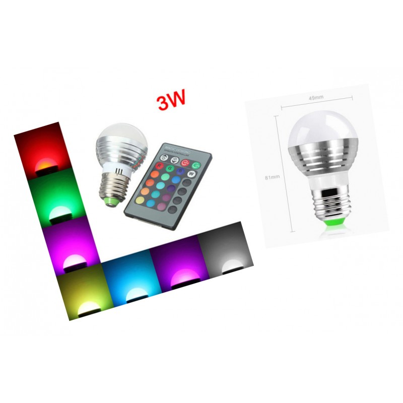 E27 RGB led lamp met afstandsbediening, 3W - Wood and Tools