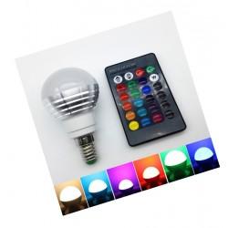 E14 RGB-LED-Lampe mit Fernbedienung, 3W