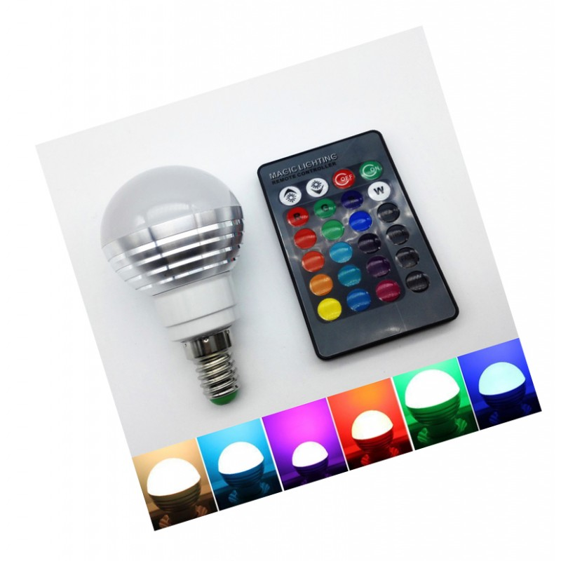 e14 rgb led lampe mit fernbedienung 3w wood and tools. Black Bedroom Furniture Sets. Home Design Ideas